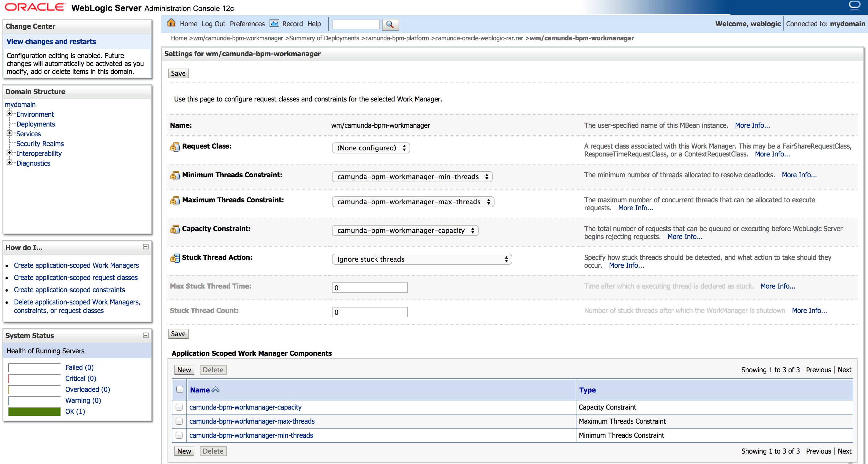 Install the Full Distribution on Oracle WebLogic Application