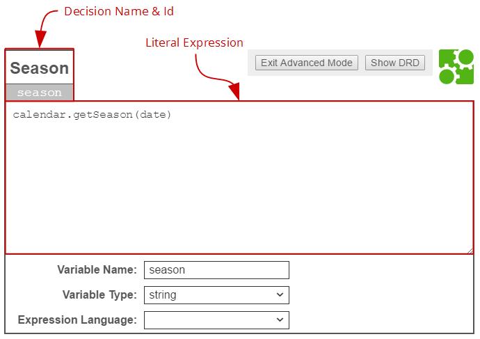 DMN Decision Literal Expression | docs camunda org