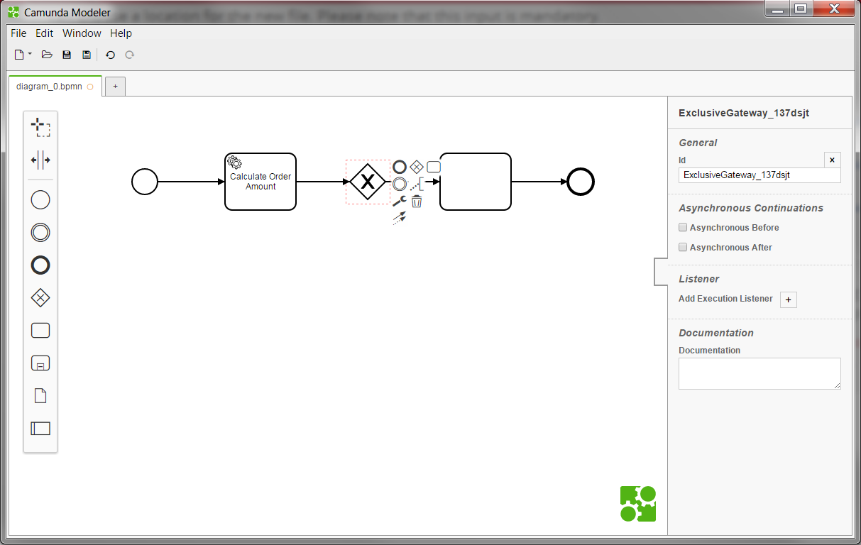 Modeling bpmn in camunda modeler docsmunda now you can start to create a bpmn 20 model add the desired elements from the palette on the left hand side by dragging and dropping them onto the diagram ccuart Gallery
